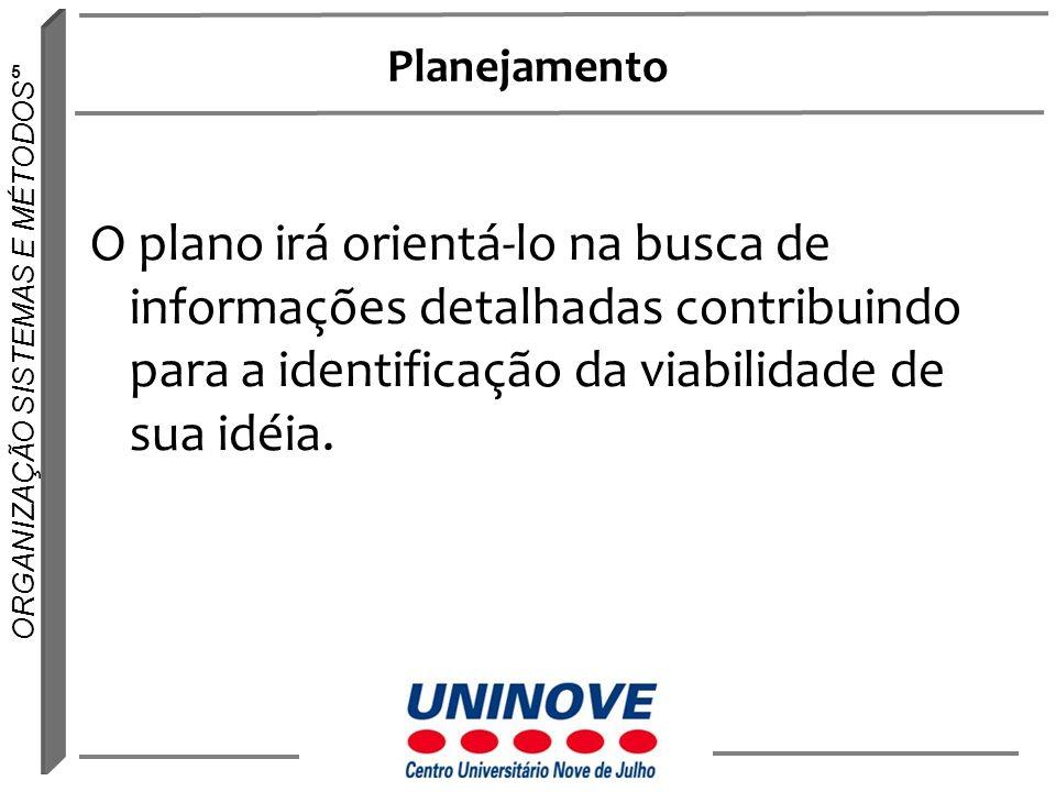 Planejamento O plano irá orientá-lo na busca de informações detalhadas contribuindo para a identificação da viabilidade de sua idéia.