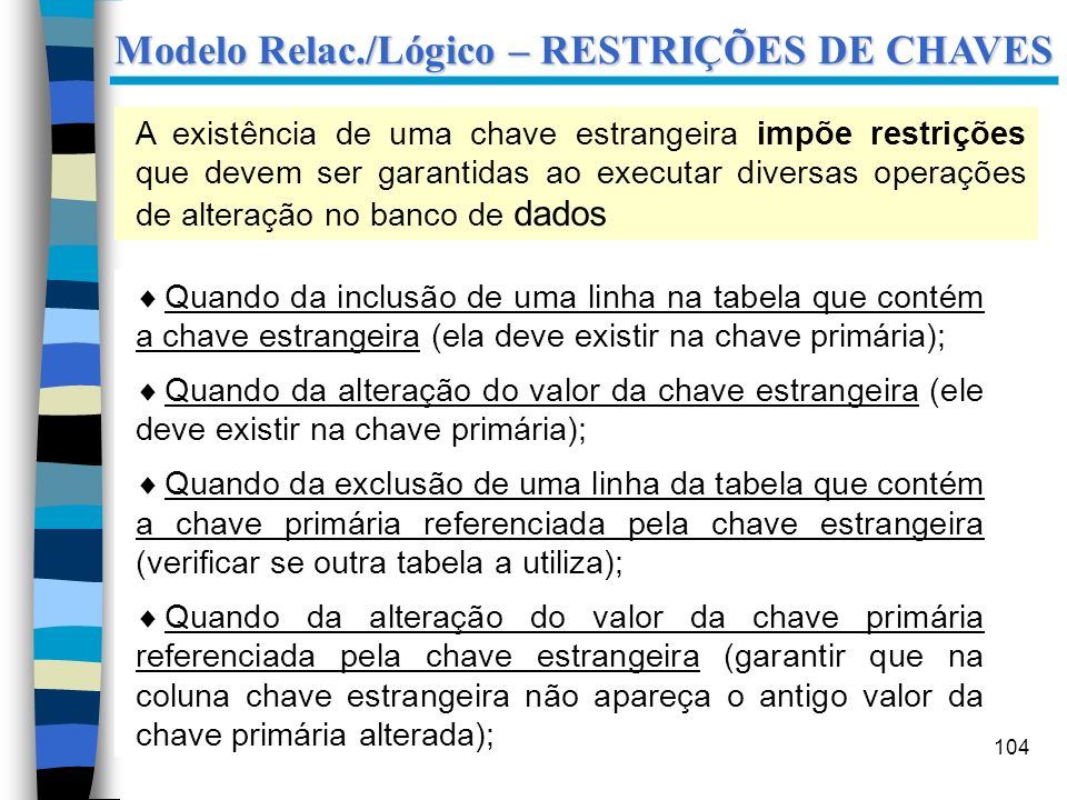 Modelo Relac./Lógico – RESTRIÇÕES DE CHAVES