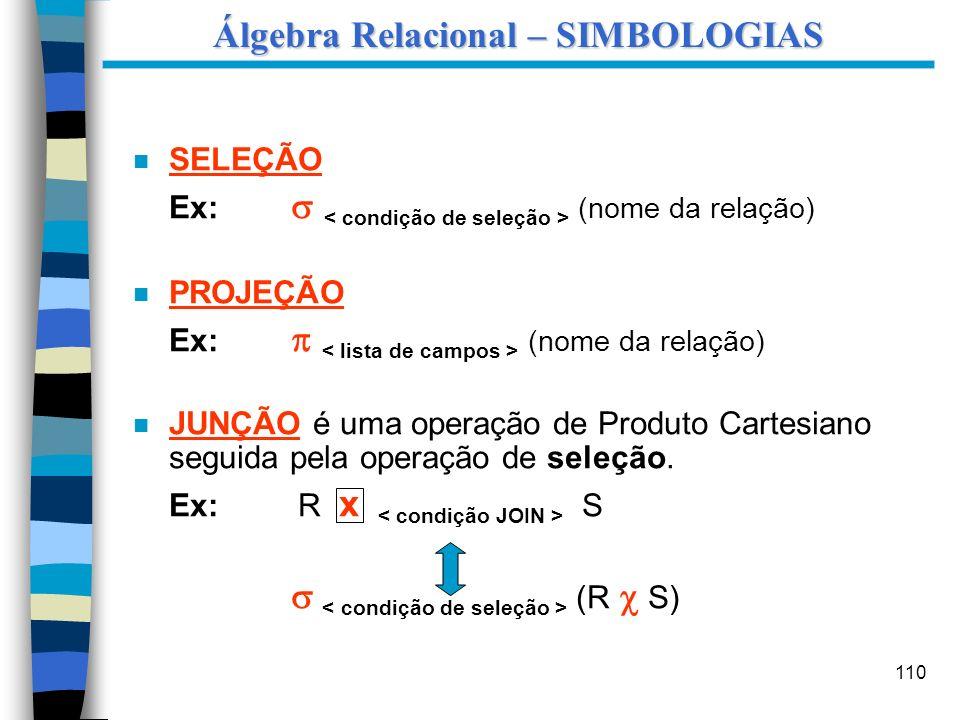 Álgebra Relacional – SIMBOLOGIAS