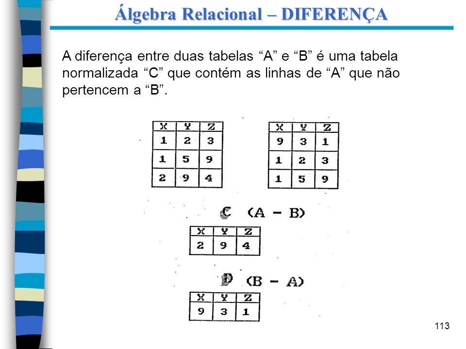 Álgebra Relacional – DIFERENÇA