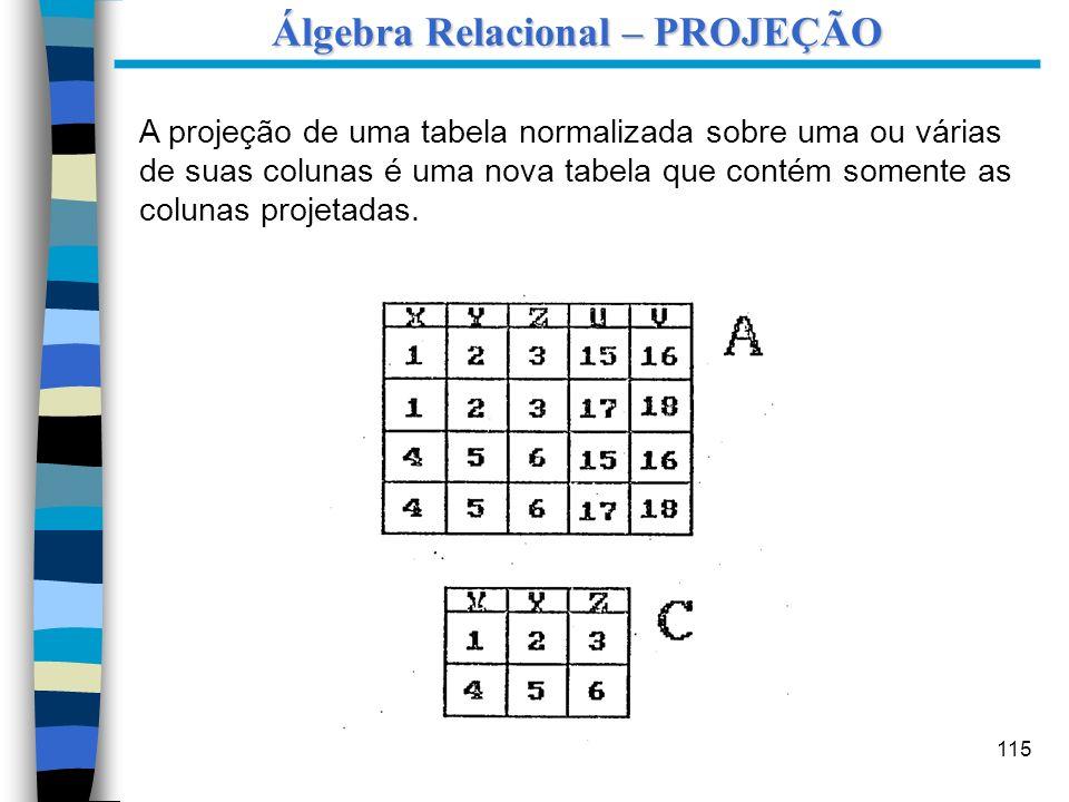 Álgebra Relacional – PROJEÇÃO