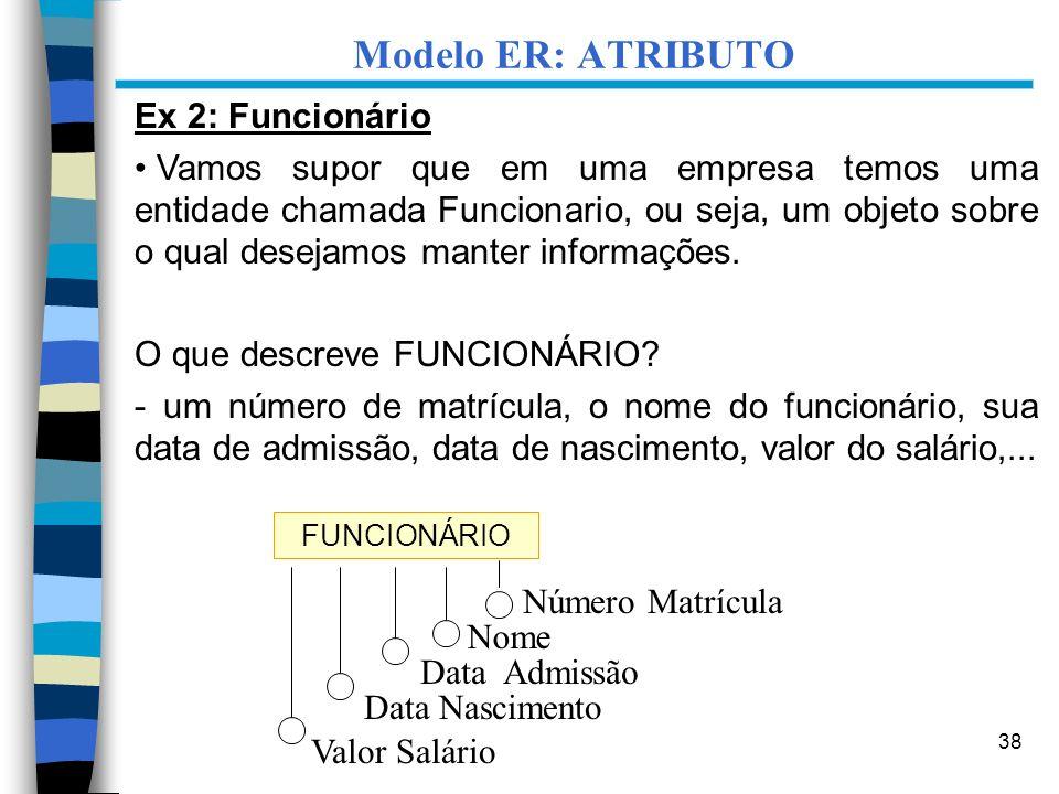 Modelo ER: ATRIBUTO Ex 2: Funcionário