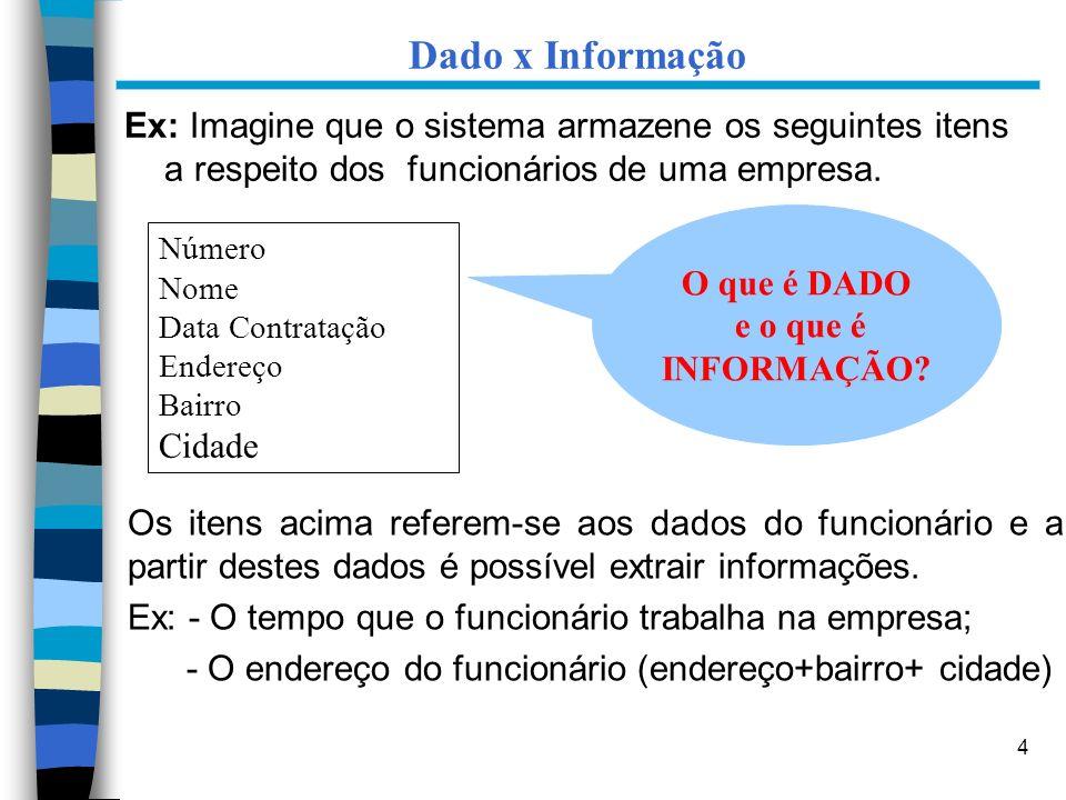 Dado x Informação Ex: Imagine que o sistema armazene os seguintes itens a respeito dos funcionários de uma empresa.