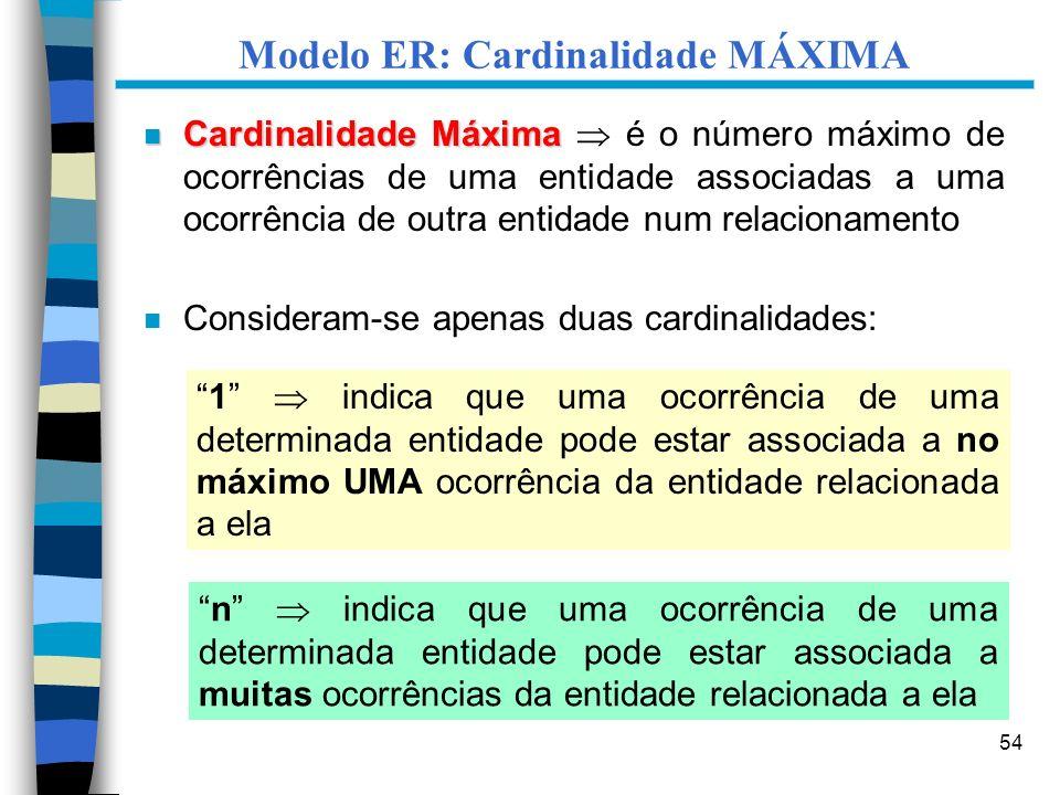 Modelo ER: Cardinalidade MÁXIMA