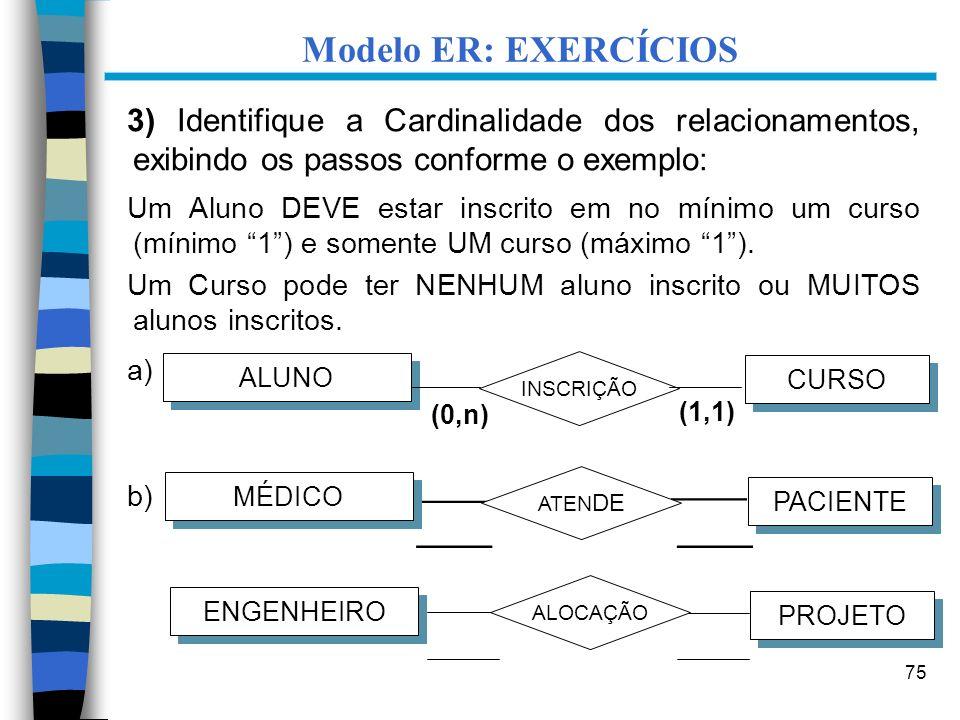 Modelo ER: EXERCÍCIOS ____ ____ ____ ____