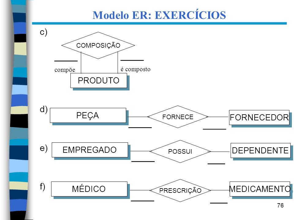 Modelo ER: EXERCÍCIOS ____ ____ ____ ____ ____ ___ ____ ___ c) d) e)