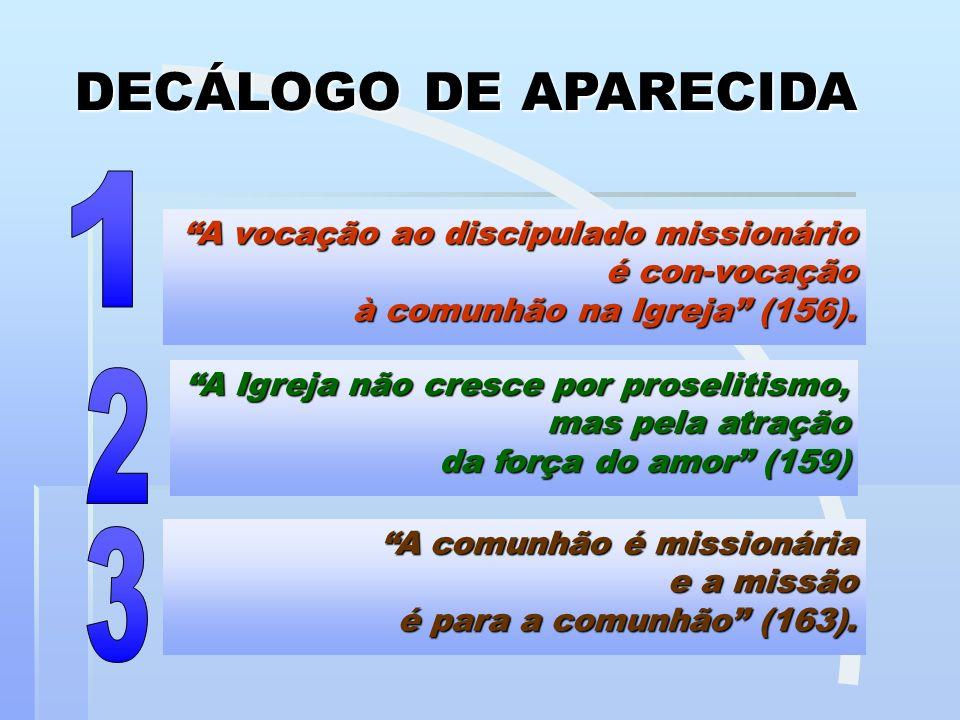 DECÁLOGO DE APARECIDA 1. A vocação ao discipulado missionário é con-vocação à comunhão na Igreja (156).