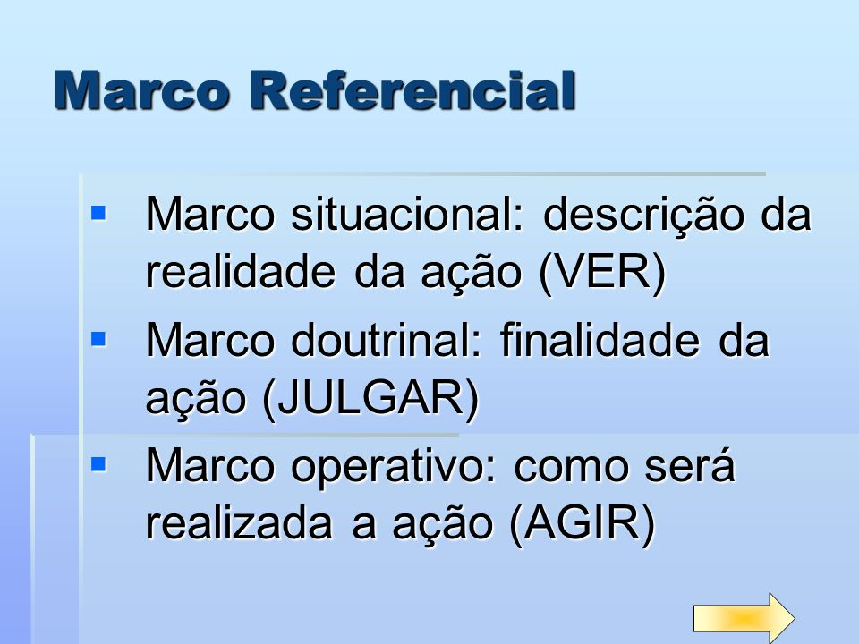 Marco Referencial Marco situacional: descrição da realidade da ação (VER) Marco doutrinal: finalidade da ação (JULGAR)