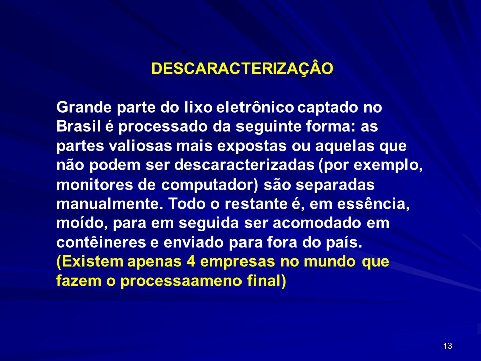 DESCARACTERIZAÇÂO