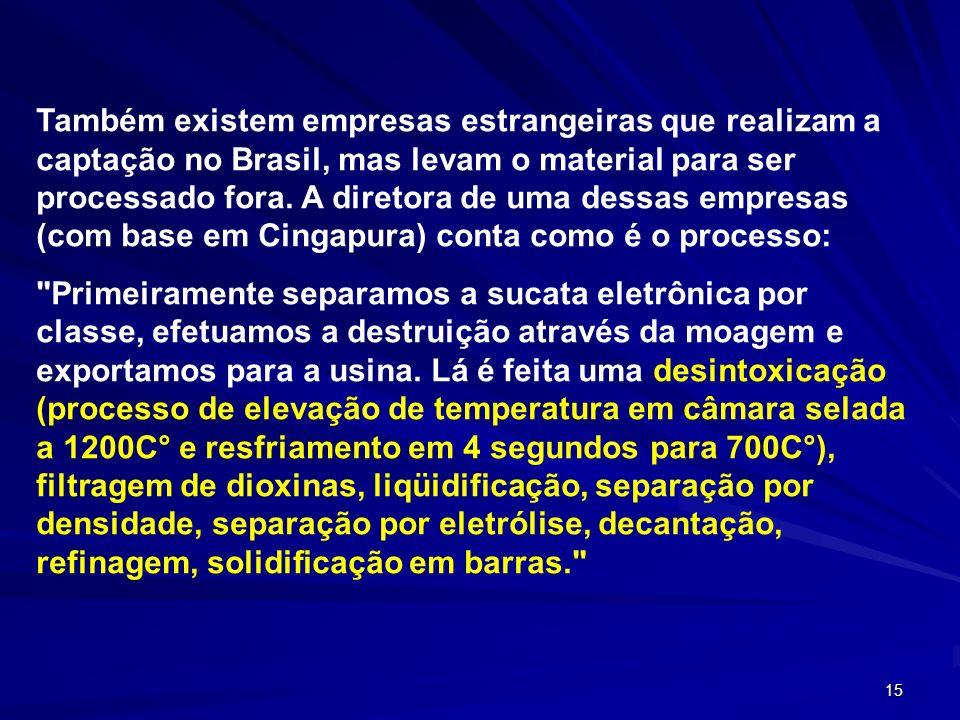Também existem empresas estrangeiras que realizam a captação no Brasil, mas levam o material para ser processado fora. A diretora de uma dessas empresas (com base em Cingapura) conta como é o processo:
