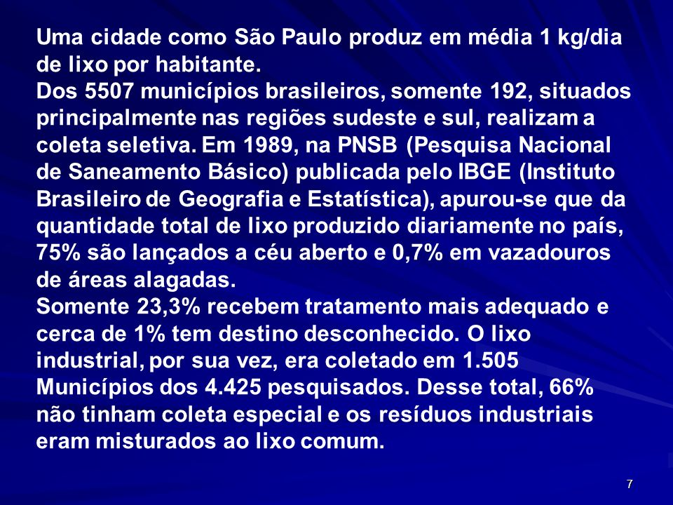 Uma cidade como São Paulo produz em média 1 kg/dia de lixo por habitante.