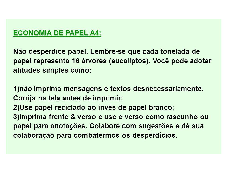ECONOMIA DE PAPEL A4: