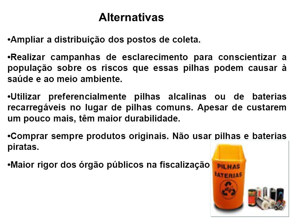 Alternativas •Ampliar a distribuição dos postos de coleta.