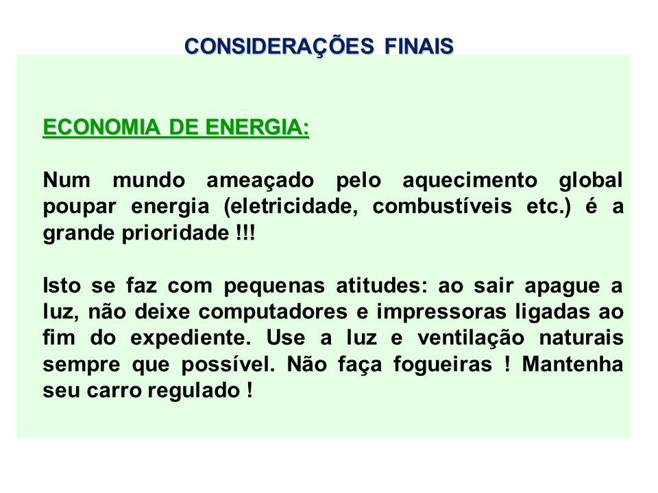 CONSIDERAÇÕES FINAIS ECONOMIA DE ENERGIA: