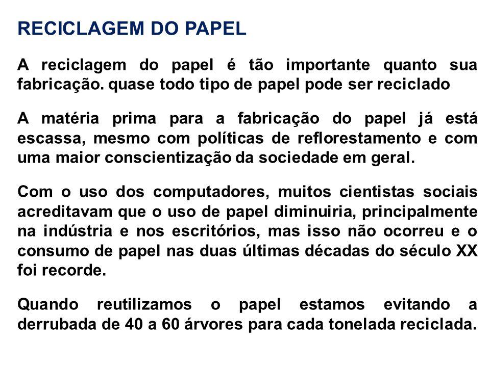 RECICLAGEM DO PAPEL A reciclagem do papel é tão importante quanto sua fabricação. quase todo tipo de papel pode ser reciclado.