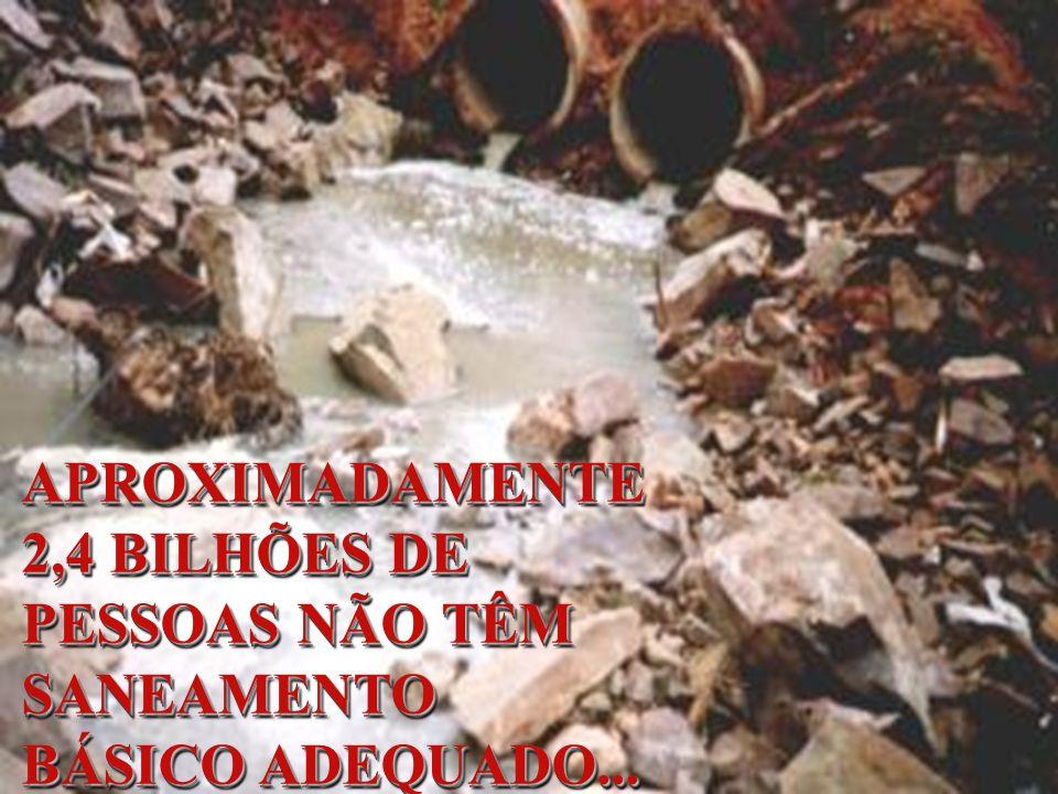 APROXIMADAMENTE 2,4 BILHÕES DE PESSOAS NÃO TÊM SANEAMENTO BÁSICO ADEQUADO...