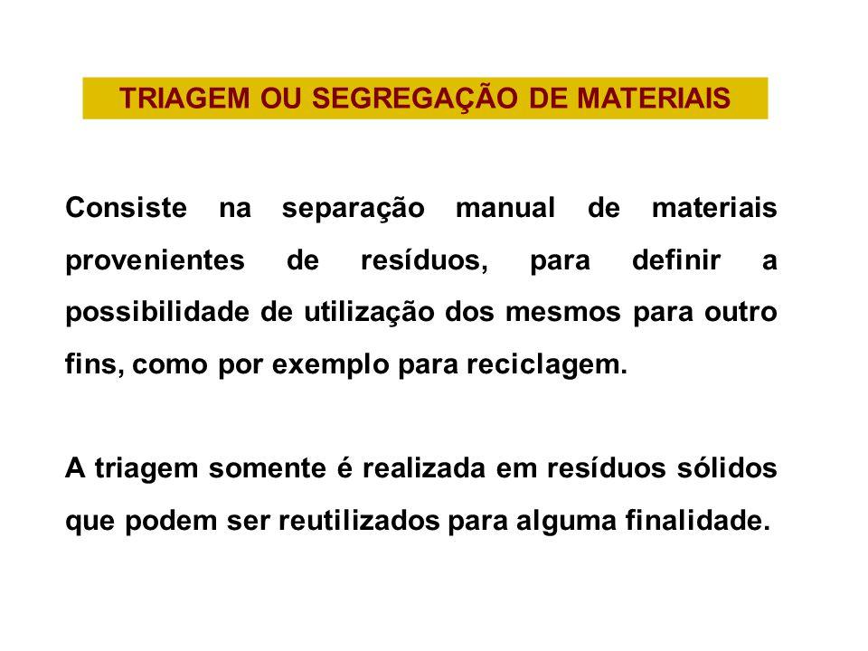 TRIAGEM OU SEGREGAÇÃO DE MATERIAIS