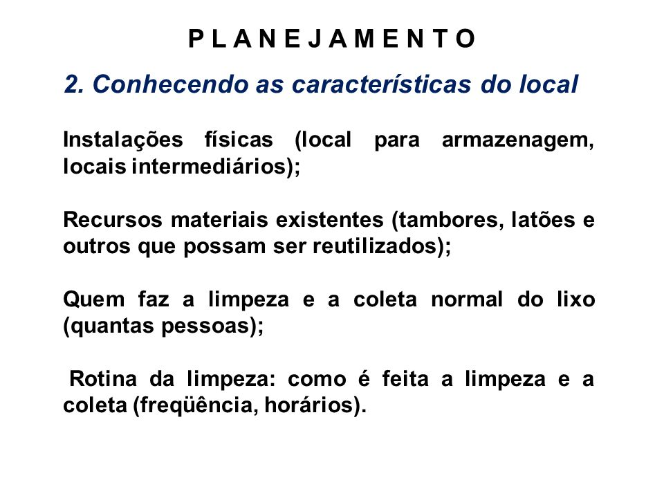 2. Conhecendo as características do local