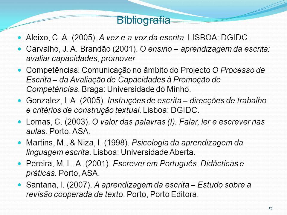 Bibliografia Aleixo, C. A. (2005). A vez e a voz da escrita. LISBOA: DGIDC.