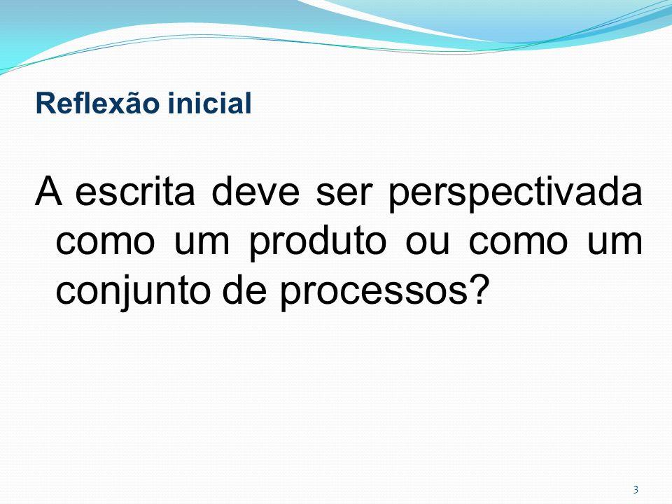 Reflexão inicial A escrita deve ser perspectivada como um produto ou como um conjunto de processos