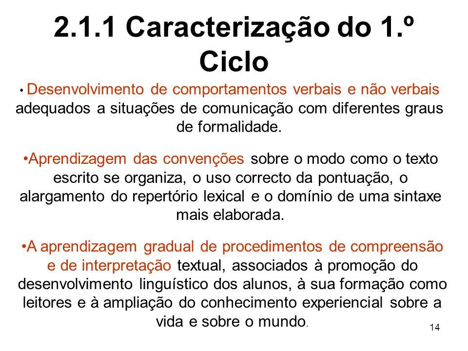 2.1.1 Caracterização do 1.º Ciclo
