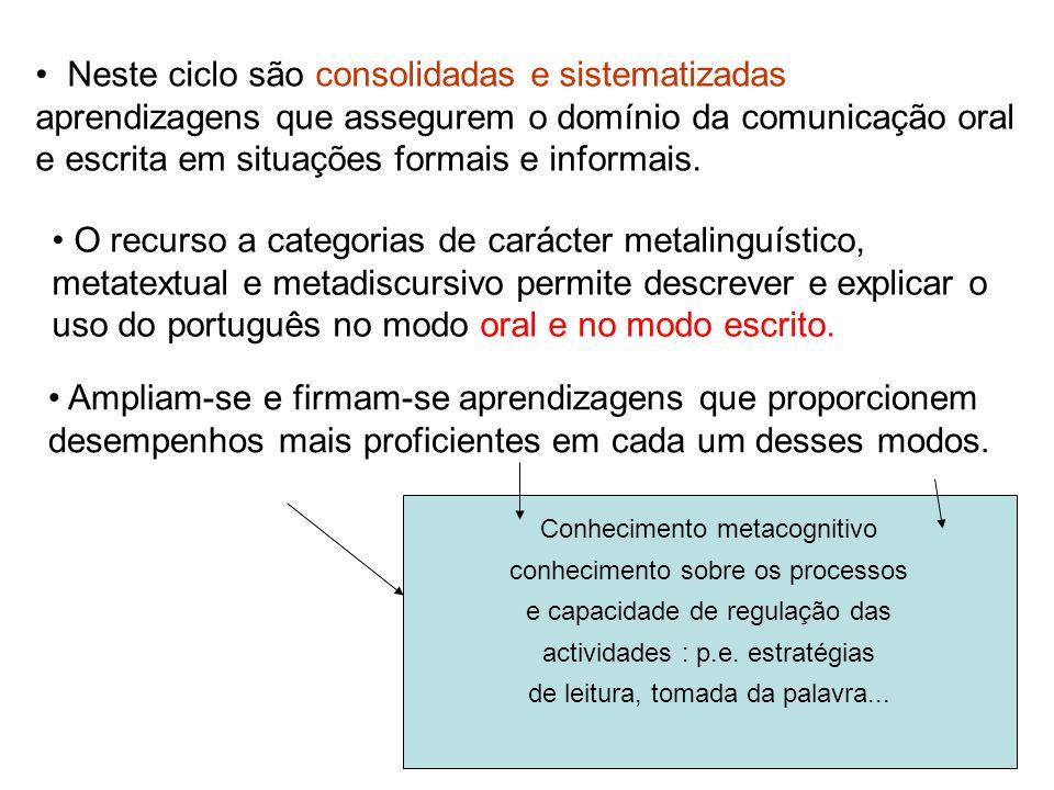 Neste ciclo são consolidadas e sistematizadas aprendizagens que assegurem o domínio da comunicação oral e escrita em situações formais e informais.
