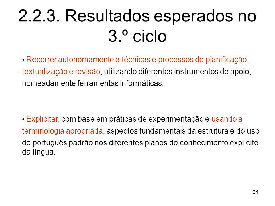 2.2.3. Resultados esperados no 3.º ciclo