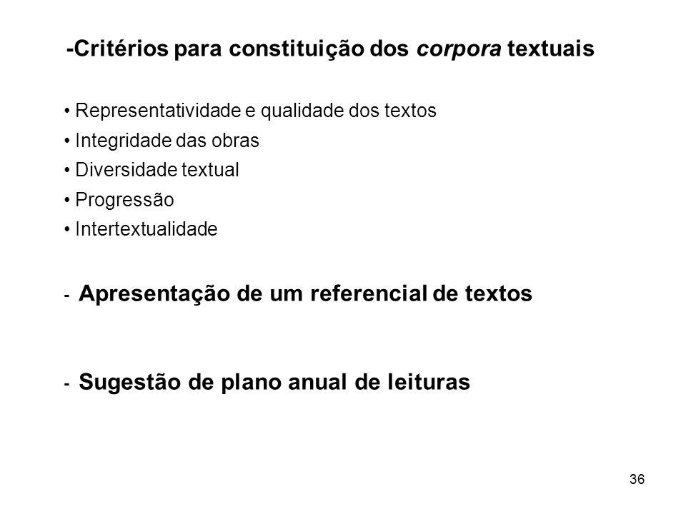 -Critérios para constituição dos corpora textuais