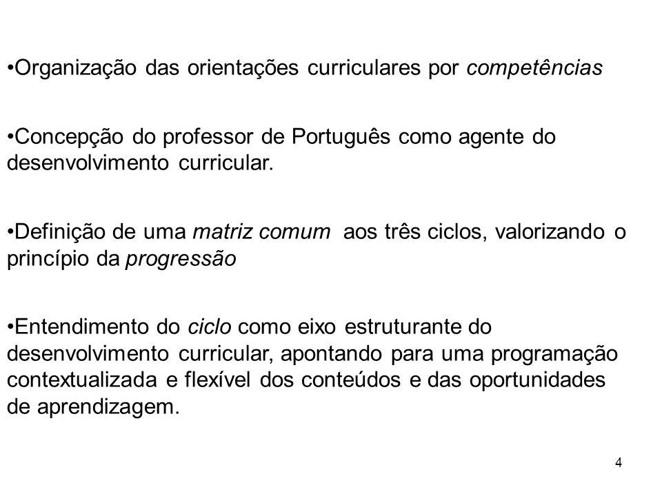 Organização das orientações curriculares por competências