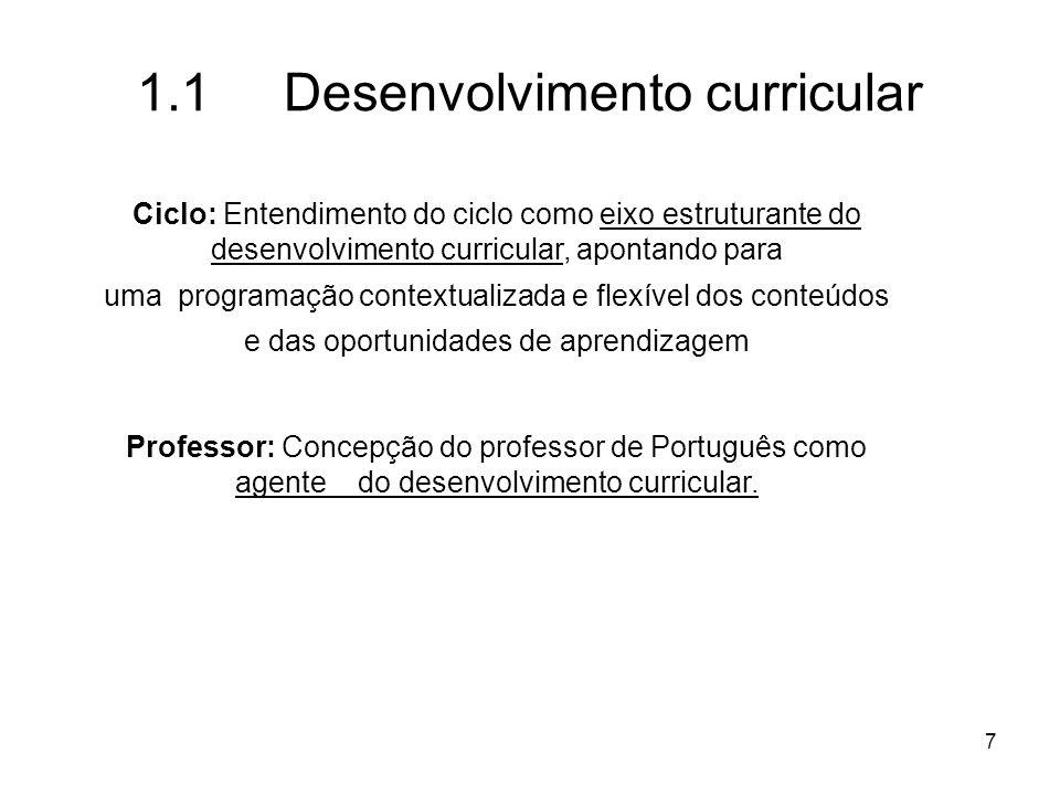 1.1 Desenvolvimento curricular
