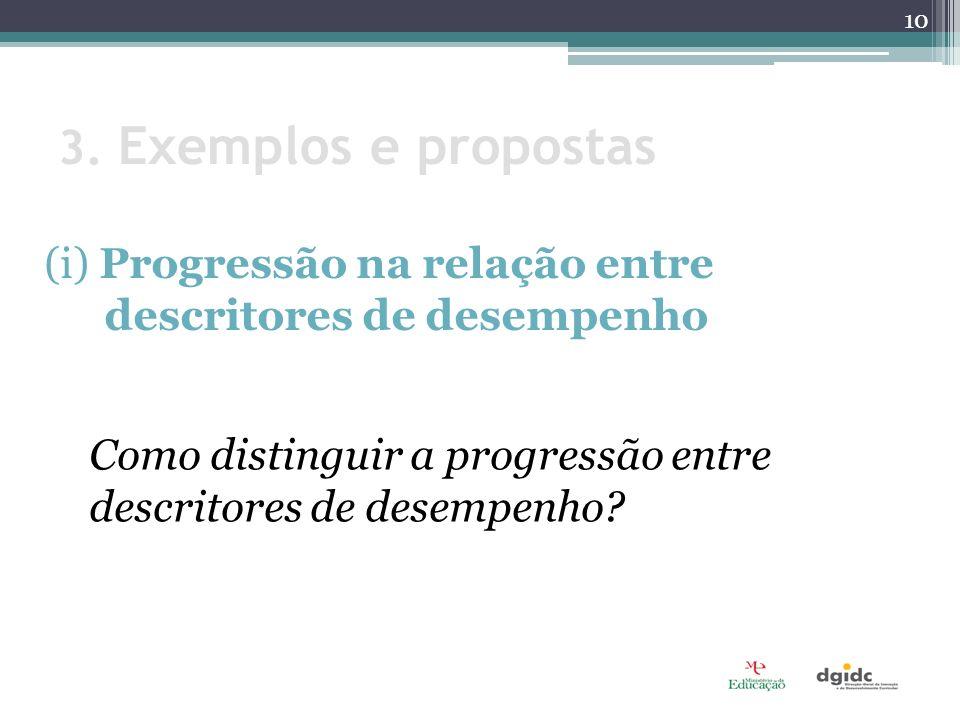 3. Exemplos e propostas (i) Progressão na relação entre descritores de desempenho.