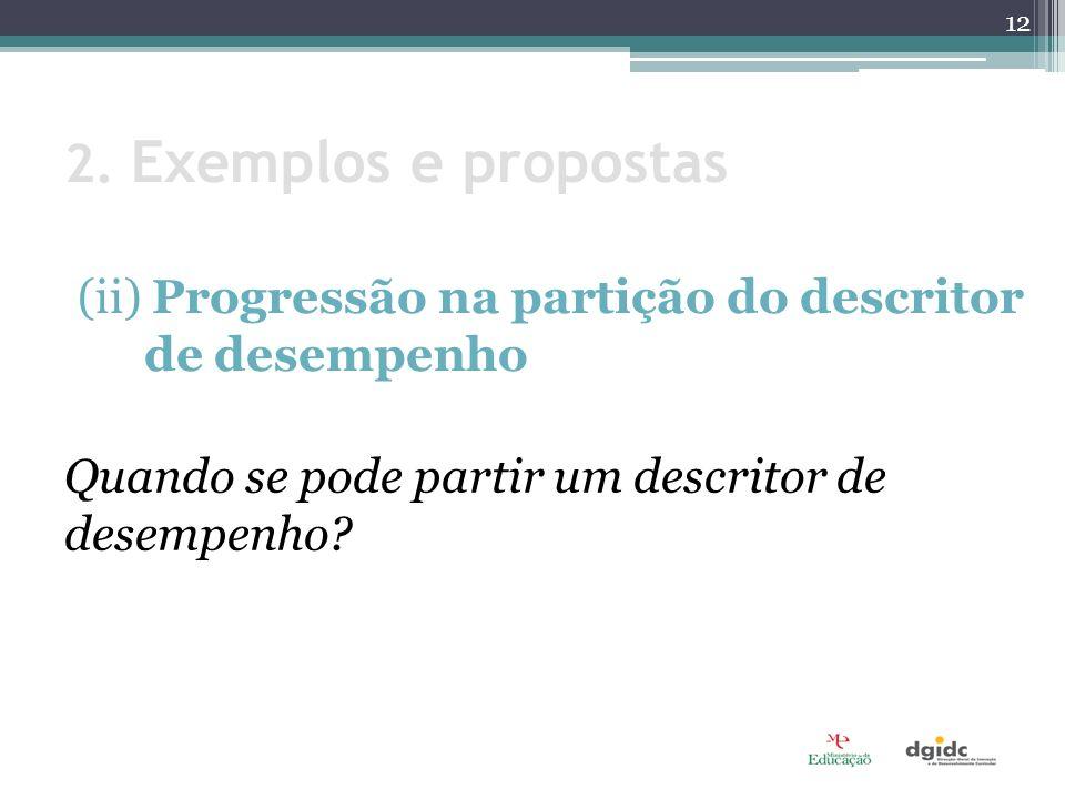 2. Exemplos e propostas (ii) Progressão na partição do descritor de desempenho.