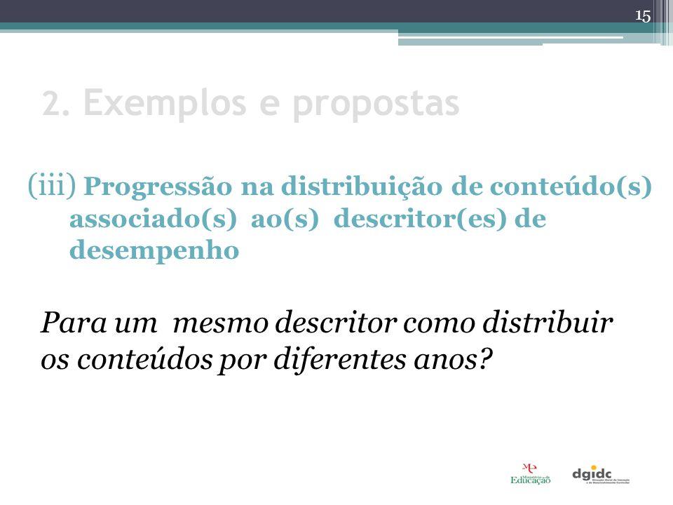2. Exemplos e propostas (iii) Progressão na distribuição de conteúdo(s) associado(s) ao(s) descritor(es) de desempenho.