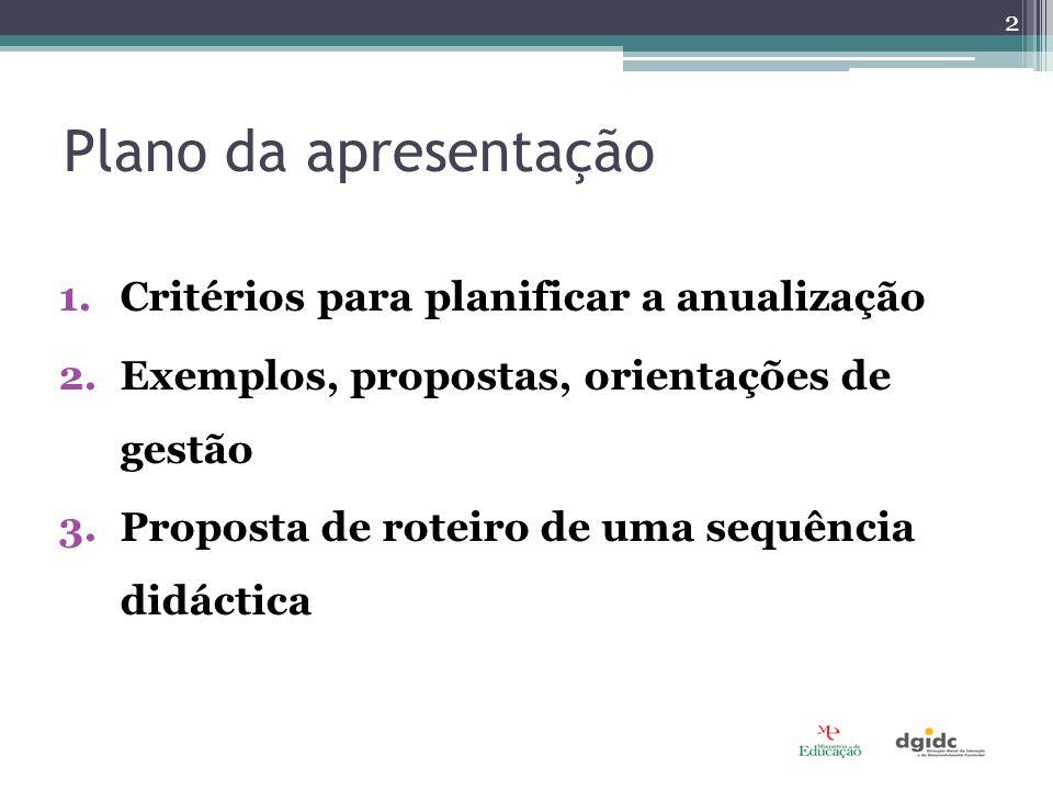 Plano da apresentação Critérios para planificar a anualização