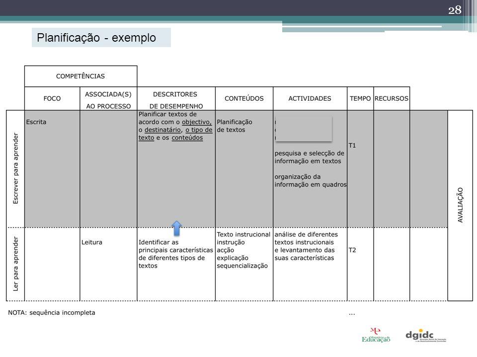 Planificação - exemplo