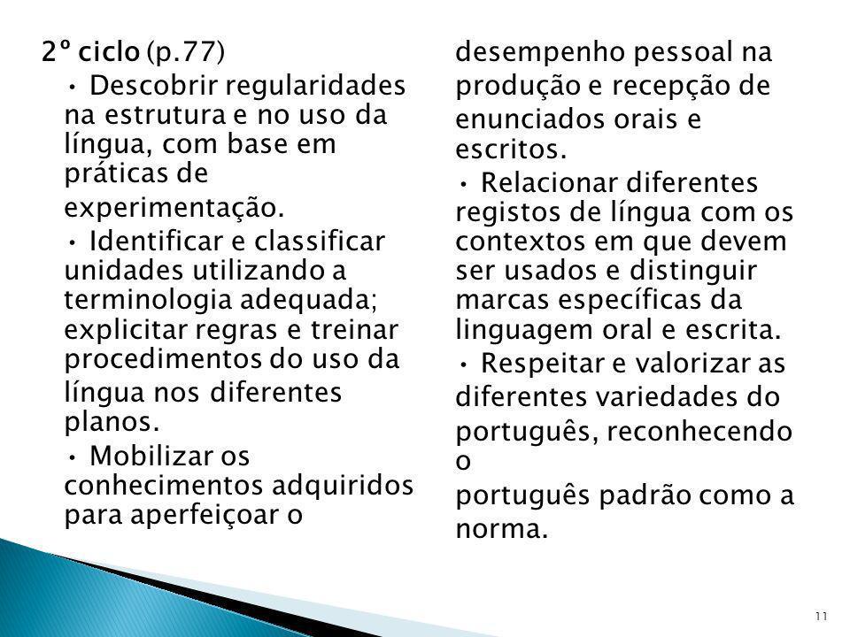 2º ciclo (p.77) • Descobrir regularidades na estrutura e no uso da língua, com base em práticas de experimentação.