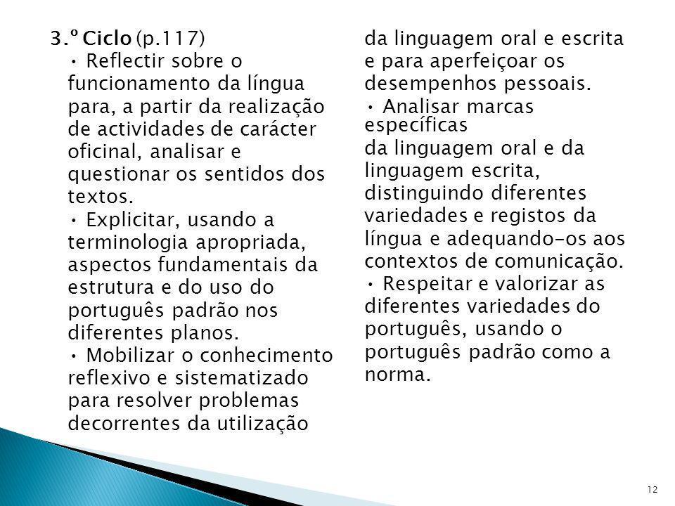 3.º Ciclo (p.117) • Reflectir sobre o funcionamento da língua para, a partir da realização de actividades de carácter oficinal, analisar e questionar os sentidos dos textos.