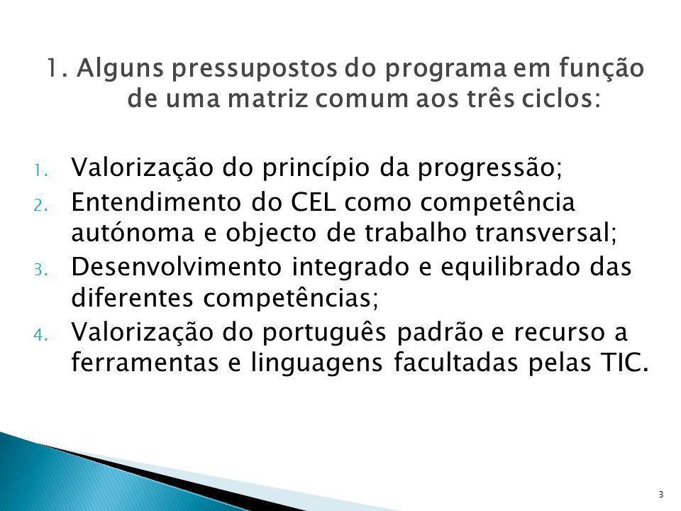 1. Alguns pressupostos do programa em função de uma matriz comum aos três ciclos: