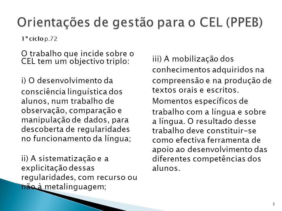 Orientações de gestão para o CEL (PPEB)