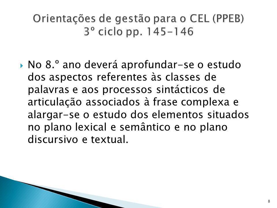 Orientações de gestão para o CEL (PPEB) 3º ciclo pp. 145-146