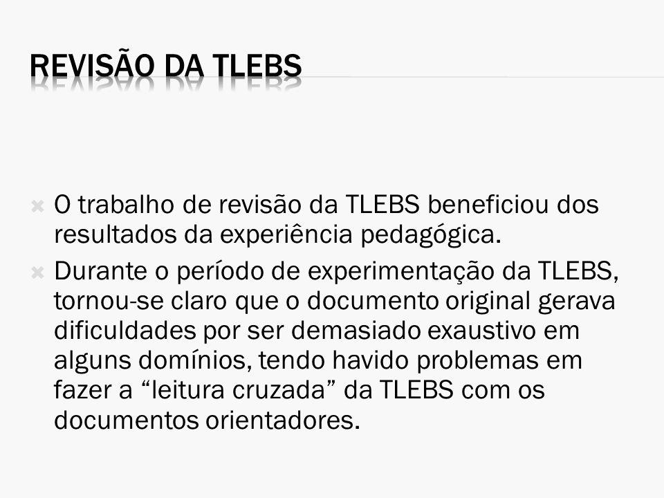 Revisão da TLEBS O trabalho de revisão da TLEBS beneficiou dos resultados da experiência pedagógica.