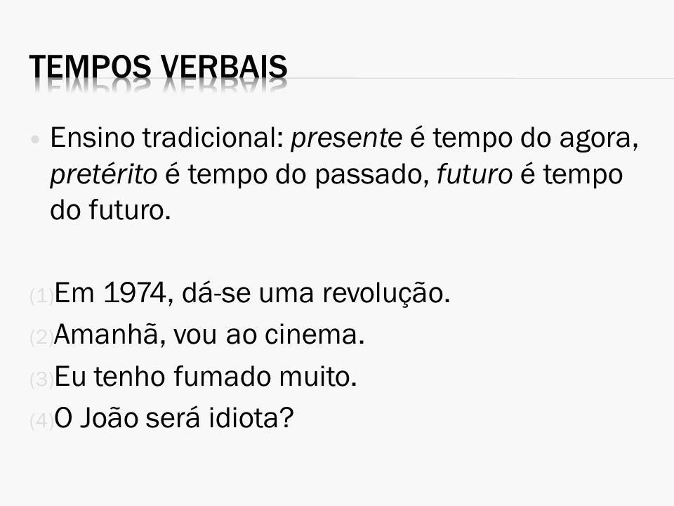 Tempos verbais Ensino tradicional: presente é tempo do agora, pretérito é tempo do passado, futuro é tempo do futuro.