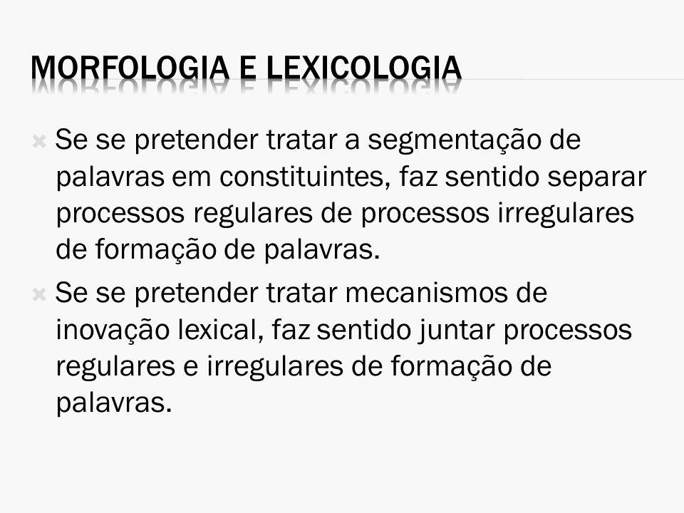 Morfologia e lexicologia