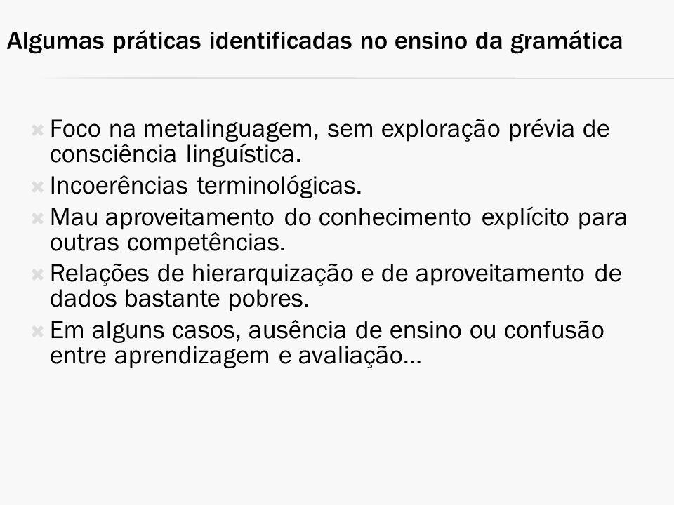 Algumas práticas identificadas no ensino da gramática
