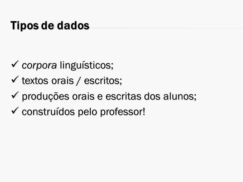 Tipos de dados  corpora linguísticos;  textos orais / escritos;