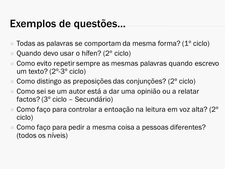 Exemplos de questões… Todas as palavras se comportam da mesma forma (1º ciclo) Quando devo usar o hífen (2º ciclo)