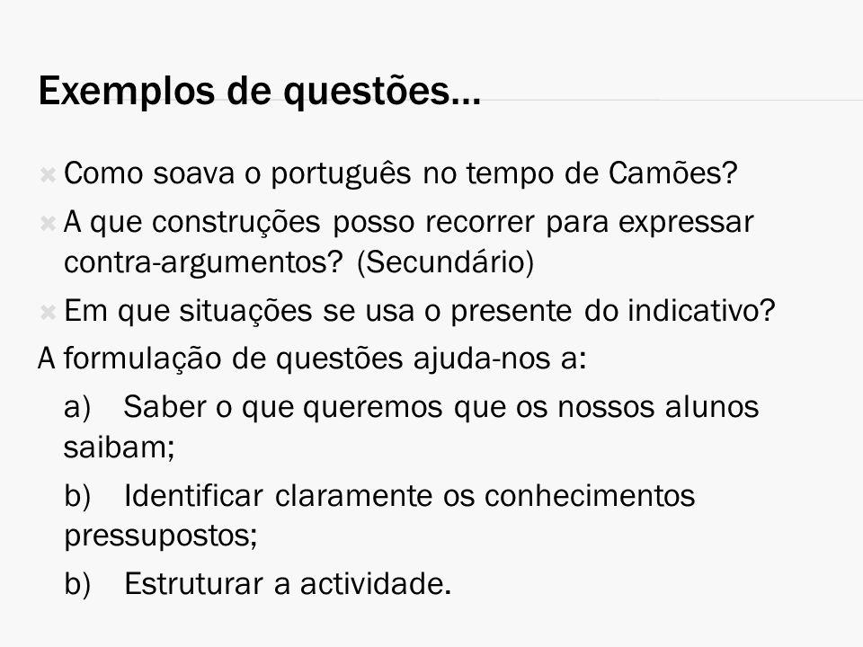 Exemplos de questões… Como soava o português no tempo de Camões