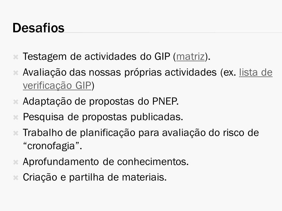 Desafios Testagem de actividades do GIP (matriz).