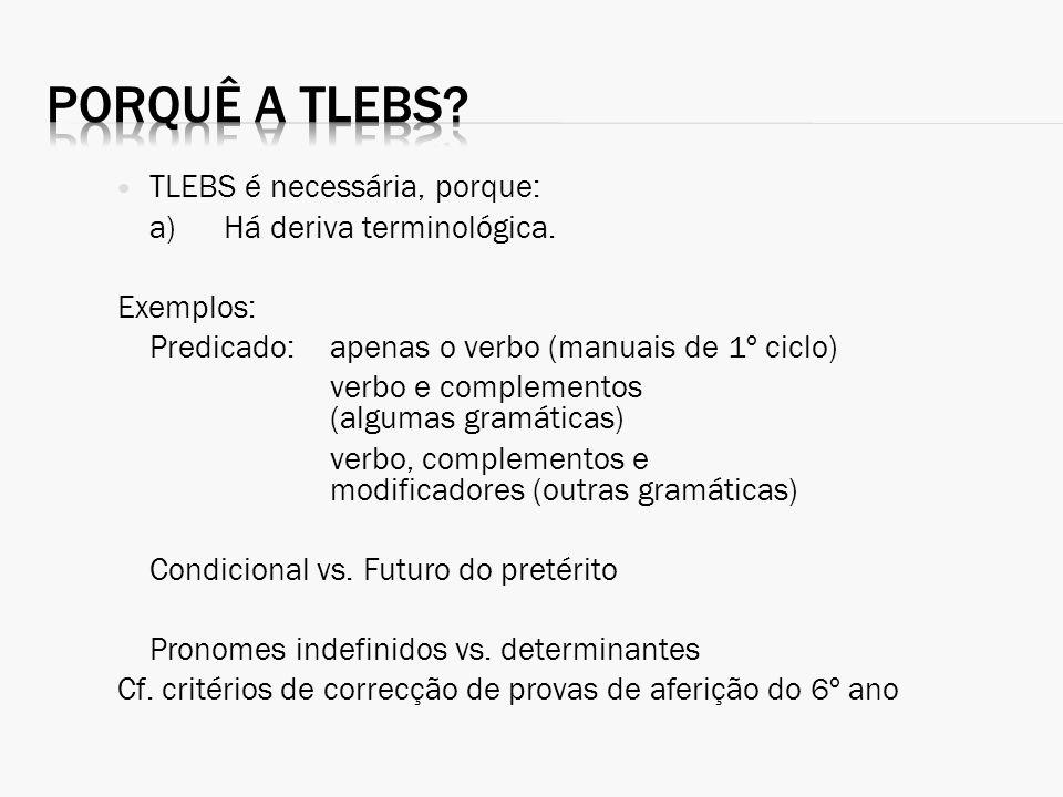 Porquê a TLEBS TLEBS é necessária, porque: