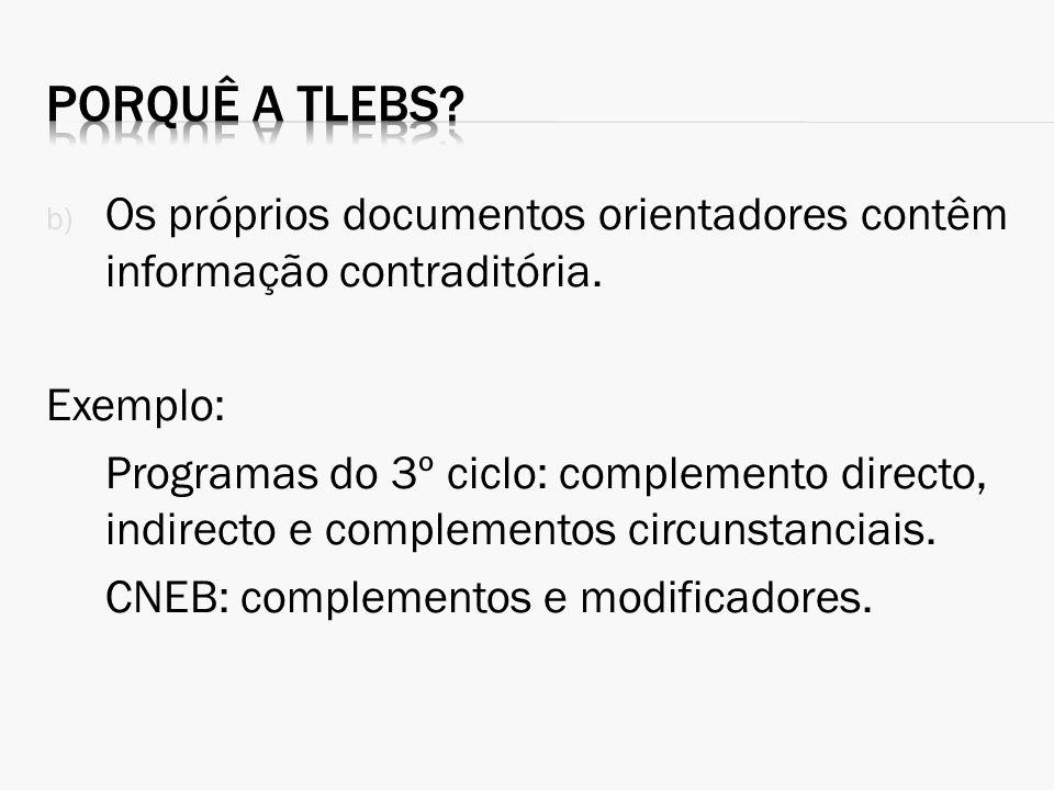 Porquê a TLEBS Os próprios documentos orientadores contêm informação contraditória. Exemplo: